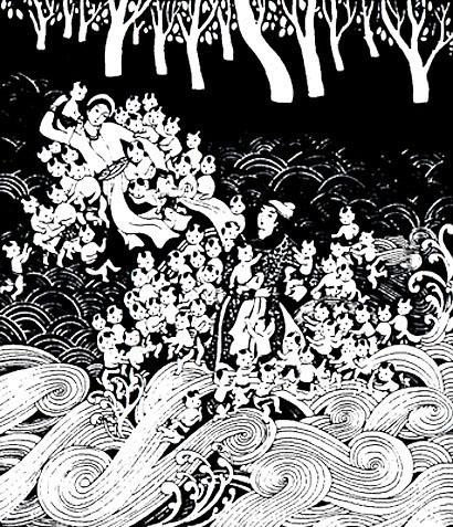 Иллюстрация к легенде о Лак Лонг Куане и Ау Ко
