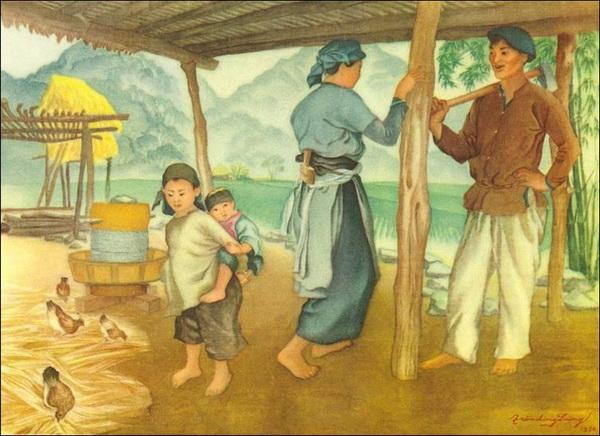 Чан Дон Дыон живопись на шелке 1956 год